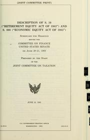 Cover of: Description of S. 19 (Retirement Equity Act of 1983) and S. 888 (Economic Equity Act of 1983) |