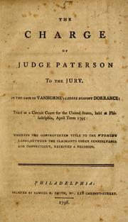 Cover of: The charge of Judge Paterson to the jury, in the case of Vanhorne