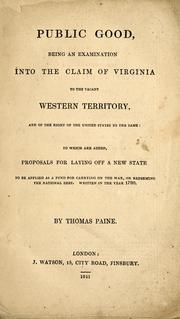 Public good by Thomas Paine