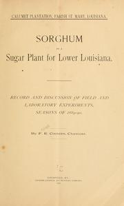Cover of: Sorghum as a sugar plant for lower Louisiana