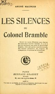 Cover of: Les silences du colonel Bramble