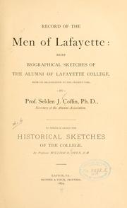 Cover of: Record of the men of Lafayette | Selden J. Coffin