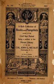 Cover of: A rich collection of books and pamphlets mainly of the Civil War period