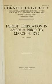 Cover of: Forest legislation in America prior to March 4, 1789