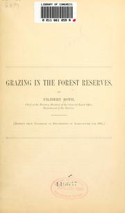 Cover of: Grazing in the forest reserves