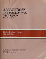 Cover of: Applications programming in ANSI C: instructor's manual