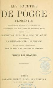 Cover of: Les facéties de Pogge Florentin