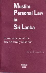 Cover of: Muslim personal law in Sri Lanka