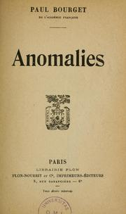 Cover of: Anomalies