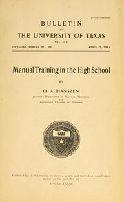 Cover of: Manual training in the high school | Oscar Arthur Hanszen