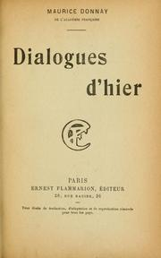 Cover of: Dialogues d'hier