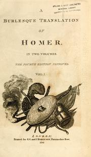 Cover of: A burlesque translation of Homer |