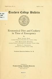 Cover of: Economical diet and cookery in time of emergency