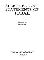 Cover of: Speeches and statements of Iqbal