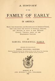 Cover of: A history of the family of early in America | Samuel Stockwell Early