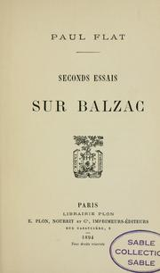 Cover of: Seconds essais sur Balzac