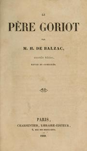 Cover of: Le père Goriot | Honoré de Balzac