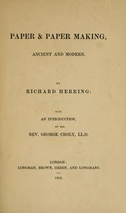 Cover of: Paper & paper making | Herring, Richard