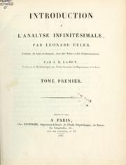 Cover of: Introduction à l'analyse infinitésimale