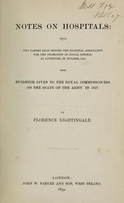 Cover of: Notes on hospitals | Florence Nightingale