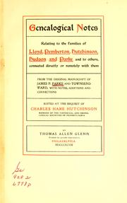 Cover of: Genealogical notes