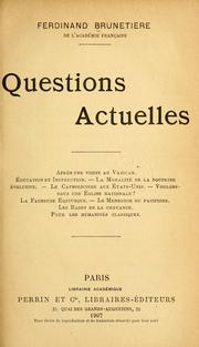 Cover of: Questions actuelles