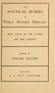 Cover of: poetical works of Percy Bysshe Shelley | Percy Bysshe Shelley