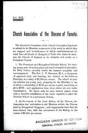 Cover of: Church Association of the Diocese of Toronto | Church of England. Diocese of Toronto. Church Association.
