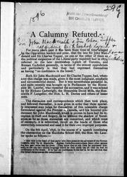 Cover of: A Calumny refuted | Tupper, Charles Sir