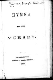 Cover of: Hymns and other verses | Joseph Medlicott Scriven