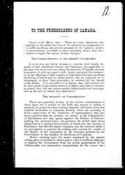 Cover of: To the freeholders of Canada | Freeholder
