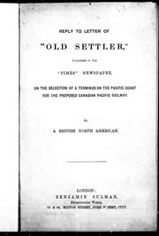 Cover of: Reply to letter of Old settler, published in the Times newspaper | William Fraser Tolmie