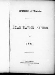 Cover of: Examination papers for 1891 | University of Toronto.