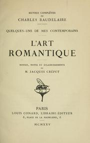 Cover of: L' art romantique by Charles Baudelaire