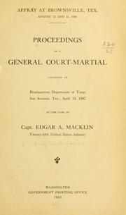 Cover of: Affray at Brownsville, Tex | Macklin, Edgar Augustus defendant
