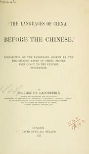 Cover of: The languages of China before the Chinese | Terrien de Lacouperie