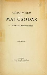 Cover of: Mai csodák by Gárdonyi, Géza