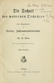 Cover of: Die Technik des modernen Orchesters