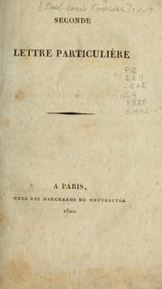 Cover of: Seconde lettre particuli`ere