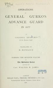 Cover of: Operations of General Gurko's advance guard in 1877