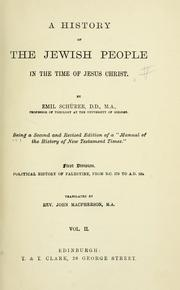 Cover of: A history of the Jewish people in the time of Jesus Christ. | Emil SchuМ€rer