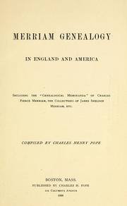 Cover of: Merriam genealogy in England and America | Charles Henry Pope