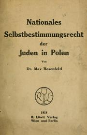 Cover of: Nationales Selbstbestimmungsrecht der Juden in  Polen