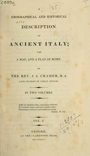 Cover of: A geographical and historical description of Ancient Italy | Cramer, J. A.