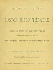 Cover of: Historical review of the Boston Bijou Theatre by Edward O. Skelton