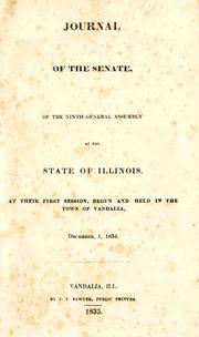 Cover of: Journal of the Senate of the ninth General Assembly of the state of Illinois | Illinois. General Assembly. Senate