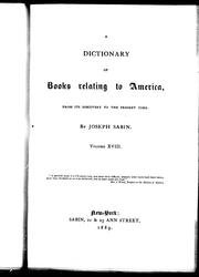 Cover of: A dictionary of books relating to America | Joseph Sabin