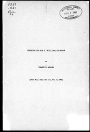 Cover of: Memoir of Sir J. William Dawson | Frank Dawson Adams