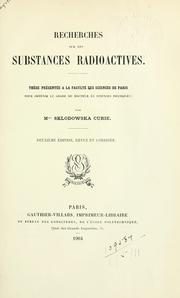 Cover of: Recherches sur les substances radioactives
