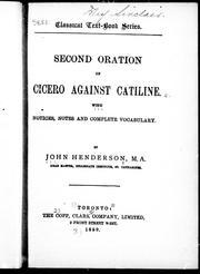 Cover of: Second oration of Cicero against Catiline by Cicero